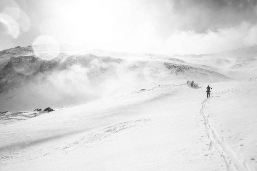 Schneller Wetterumsturz bei einer Skitour, was zu erst noch leicht erreichbar schien, mussten wir dann doch aufgeben und umkehren. Kühtai, 2017.